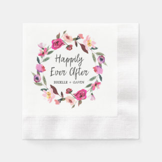 Romantic Fairytale Happily Ever After Wedding Disposable Serviette