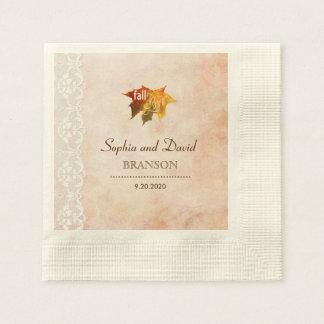 Romantic Fall in Love Wedding Paper Napkin