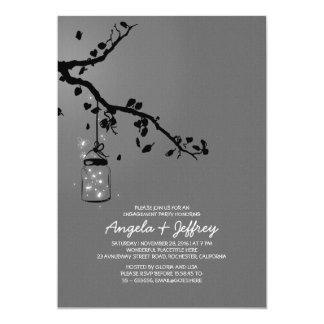 "Romantic fireflies mason jar engagement party 5"" x 7"" invitation card"
