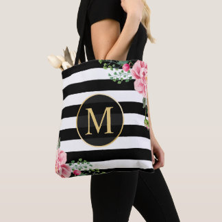 Romantic Floral Black White Stripes Monogram Tote Bag
