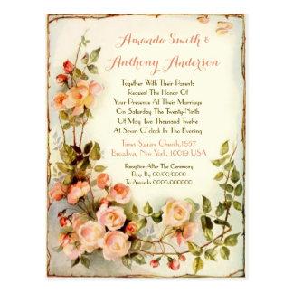 Romantic floral Budget wedding invitation Postcard