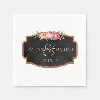 Romantic Floral Chalkboard Wedding Monogram Disposable Serviettes