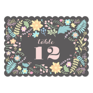 "Romantic Floral Design Wedding Table Number Cards 5"" X 7"" Invitation Card"