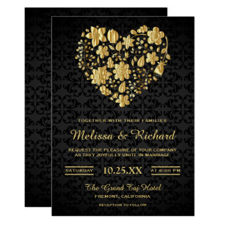 Romantic Floral Faux Gold Heart Wedding Invitation