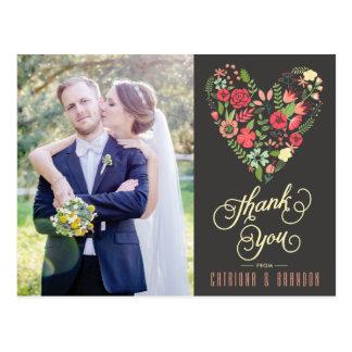 Romantic Floral Heart Photo Thank You Postcard