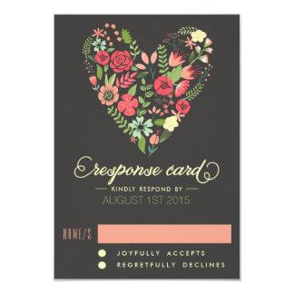 Romantic Floral Heart RSVP Card 9 Cm X 13 Cm Invitation Card