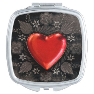 Romantic Floral Heart Valentine Love Compact Mirrors