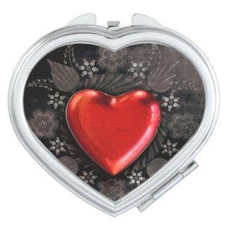 Romantic Floral Heart Valentine Love Travel Mirror