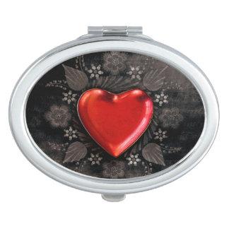 Romantic Floral Heart Valentine Love Travel Mirrors