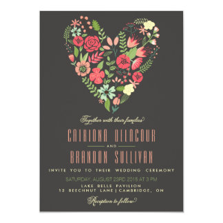 Romantic Floral Heart Wedding Invitation