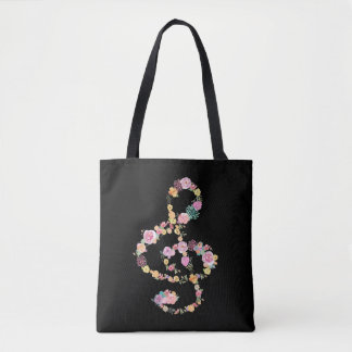 romantic floral music treble clef on black tote bag