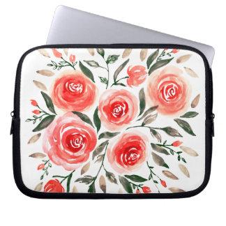 Romantic Floral Pink Roses Watercolor Design Laptop Sleeve