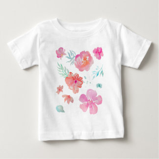 Romantic Floral Pink Watercolor Cool & Elegant Baby T-Shirt
