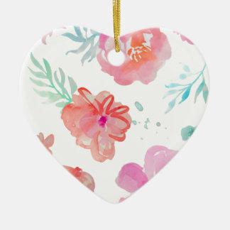 Romantic Floral Pink Watercolor Cool & Elegant for Ceramic Heart Decoration