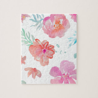 Romantic Floral Pink Watercolor Cool & Elegant for Jigsaw Puzzle