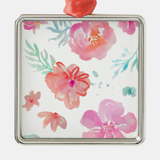 Romantic Floral Pink Watercolor Cool & Elegant for Silver-Colored Square Decoration