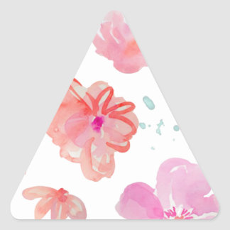 Romantic Floral Pink Watercolor Cool & Elegant for Triangle Sticker