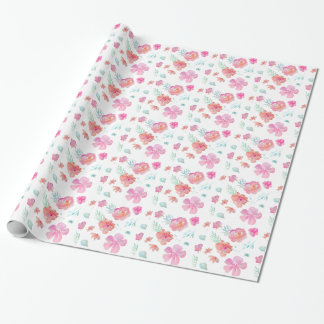 Romantic Floral Pink Watercolor Cool & Elegant for Wrapping Paper