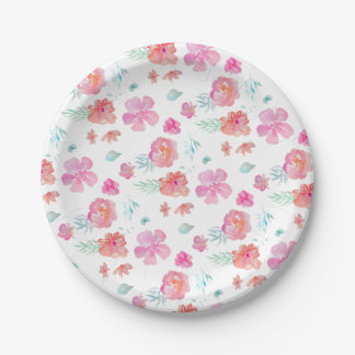 Romantic Floral Pink Watercolor Cool & Elegant Paper Plate
