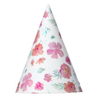 Romantic Floral Pink Watercolor Cool & Elegant Party Hat