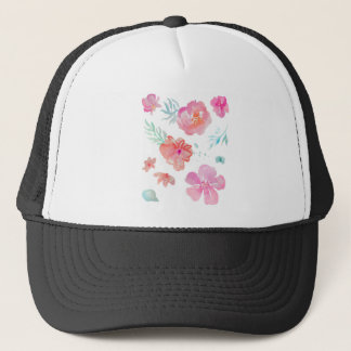 Romantic Floral Pink Watercolor Cool & Elegant Trucker Hat