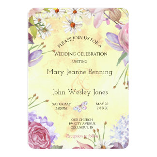 Romantic Floral Sunny Wedding Card