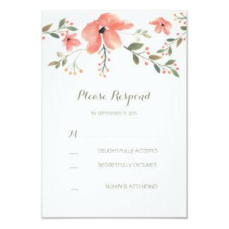 romantic floral watercolor wedding RSVP card 9 Cm X 13 Cm Invitation Card