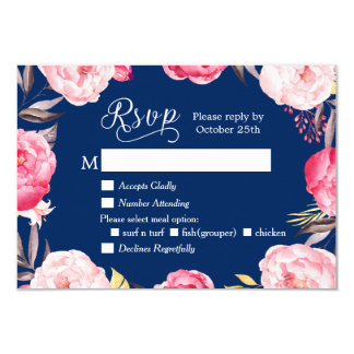 Romantic Floral Wreath Navy Blue RSVP Reply 9 Cm X 13 Cm Invitation Card