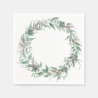 Romantic floral wreath paper napkin