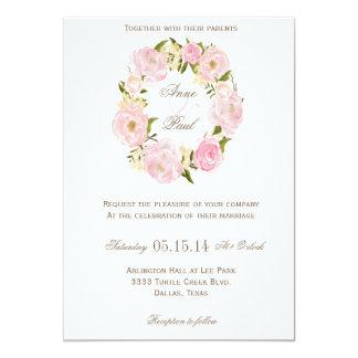 Romantic Floral wreath wedding invitation