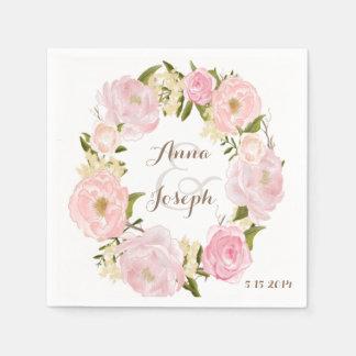 Romantic Floral Wreath Wedding Napkin Disposable Serviette