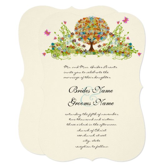 Romantic Flower  Love Tree Wedding Invitation