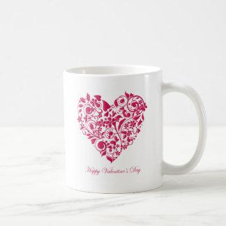 Romantic flowery red Valentine´s Day Heart Basic White Mug