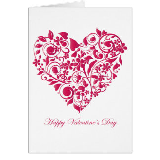 Romantic flowery red Valentine´s Day Heart Greeting Card