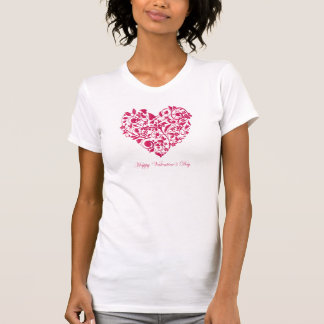 Romantic flowery red Valentine´s Day Heart Tee Shirts