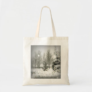 Romantic Forest Christmas trees Winter Wedding Budget Tote Bag