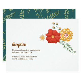 Romantic Foxes and Rustic Floral Foliage Reception Card