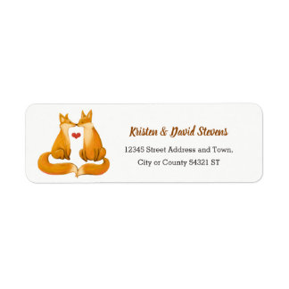 Romantic Foxes and Rustic Floral Foliage Wedding Return Address Label