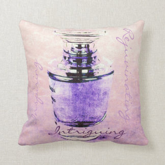 romantic French perfume bottle with script Cushion