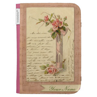 Romantic French Vintage Pink Rose Kindle Case
