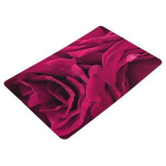 Romantic fuchsia pink velvet roses floral photo floor mat