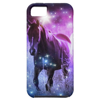 Romantic Galaxy blue purple stars Galloping Horses Tough iPhone 5 Case