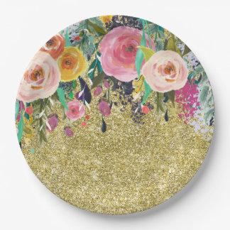 Romantic Garden Floral Watercolor Gold Sparkle Paper Plate