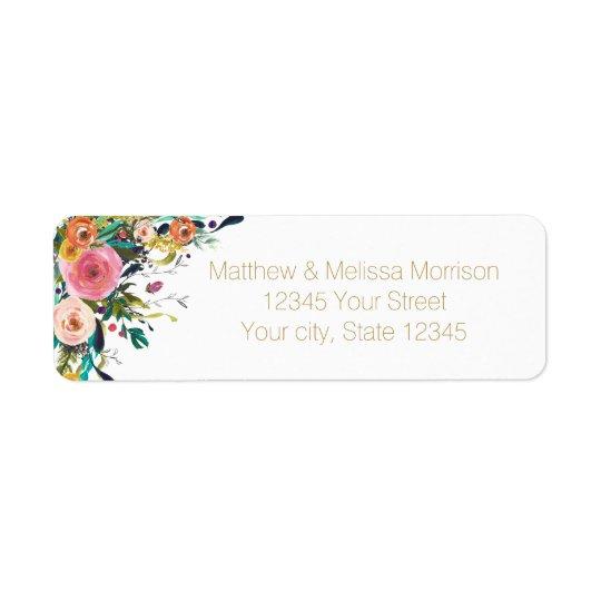 Romantic Garden Floral Watercolor Wedding Return Address Label
