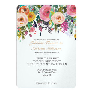 Romantic Garden Floral Wedding 13 Cm X 18 Cm Invitation Card