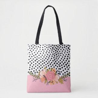 Romantic Garden Flowers & Black White Polka Dots Tote Bag