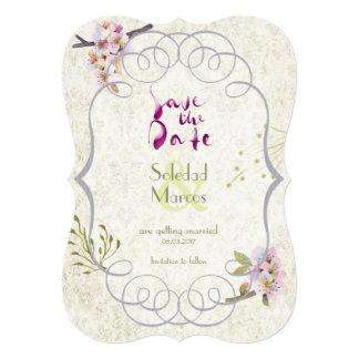 Romantic Garden Plum Calligraphy Save-The-Date Card