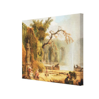 Romantic garden scene canvas print