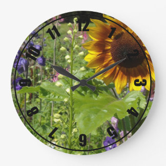 Romantic Garden Sunflowers Large Clock
