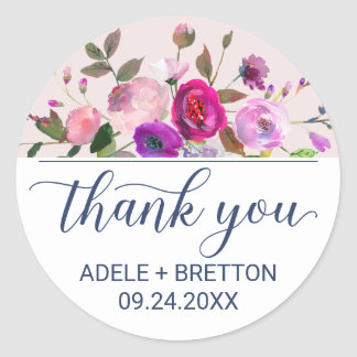 Romantic Garden Thank You Favor Round Sticker